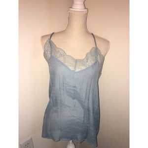 Light Blue Lace Lined Tank Top
